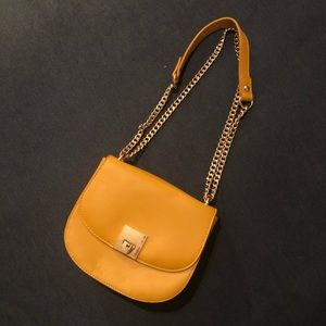 Yellow Faux Leather Crossbody with Chain Strap